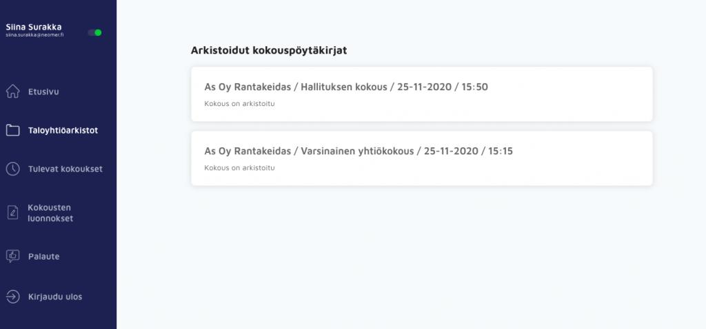 Pöytäkirjojen arkistointi on automaattinen toiminto Neomeetissa - Neomeet