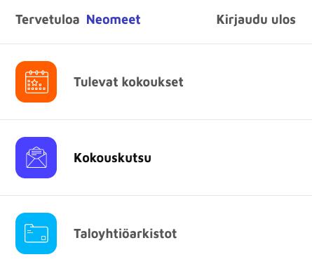 Osakkaan päävalikko - Neomeet