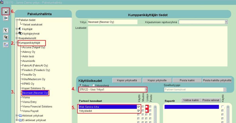 Visma Fivaldin (ERP-järjestelmä) Palvelunhallinta-valikko, jossa Neomeetin integraatio tapahtuu - Neomeet
