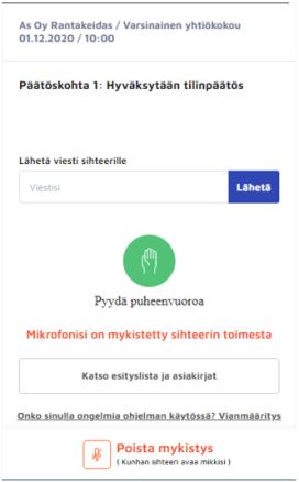 Kokousnäkymä (taloyhtiön osakas) - Neomeet